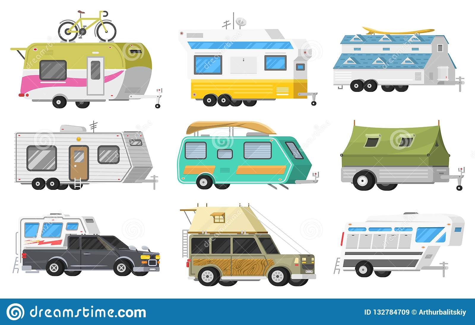 Un insieme dei rimorchi o del caravan di campeggio della famiglia rv Bus turistico e tenda per ricreazione ed il viaggio all aper