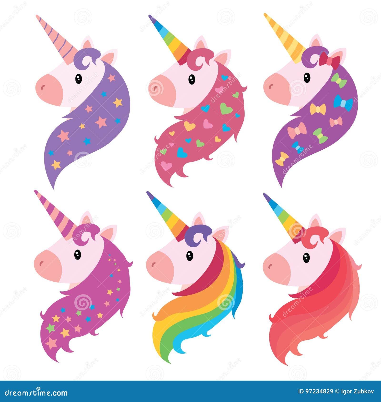 Un Insieme Dei Ritratti Degli Unicorni Nello Stile Del Fumetto