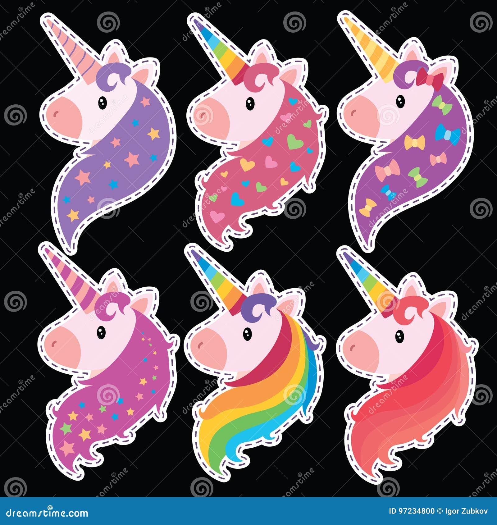 Un Insieme Dei Ritratti Degli Unicorni Nello Stile Del Fumetto Una