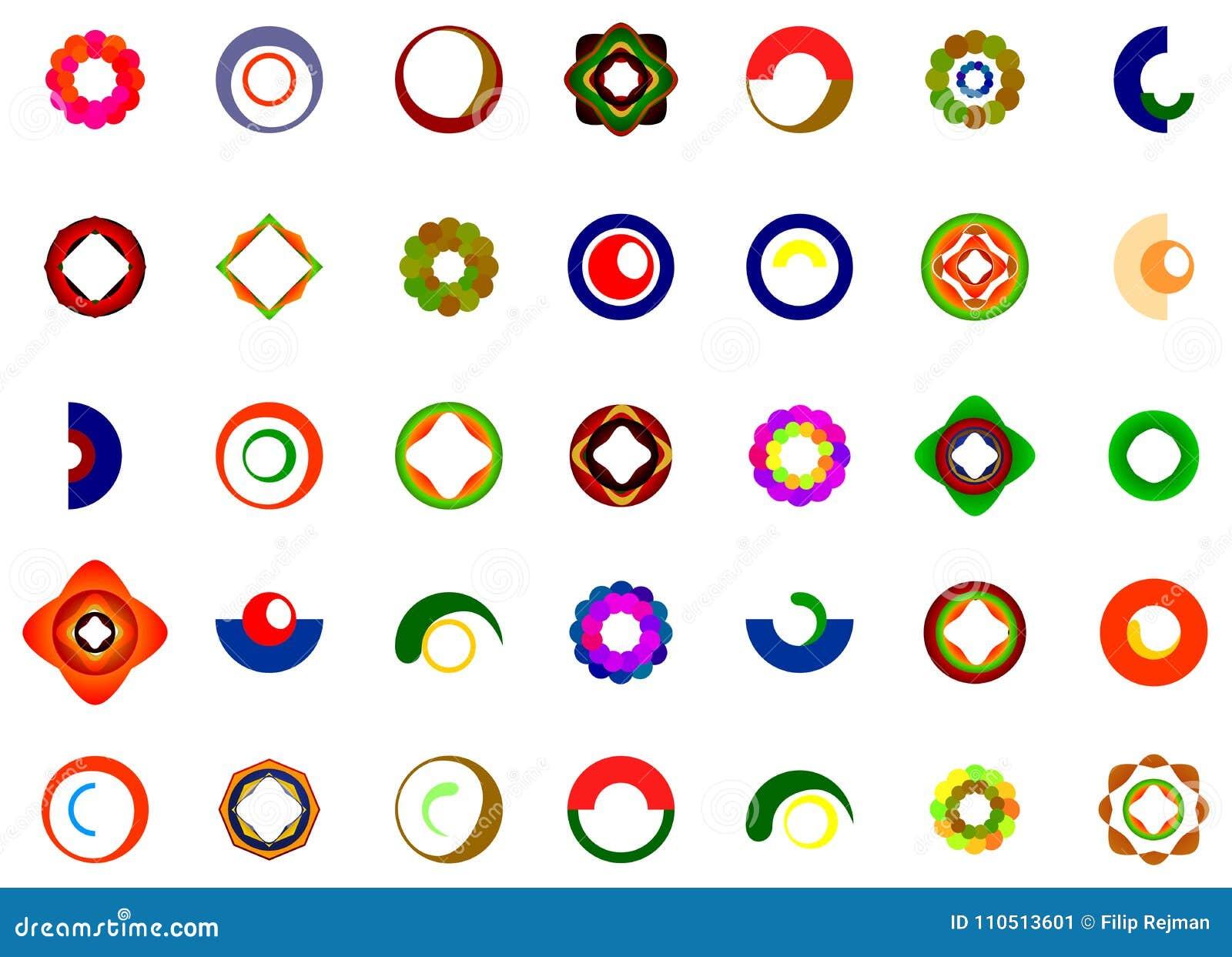 Un insieme del logos, delle icone e degli elementi grafici