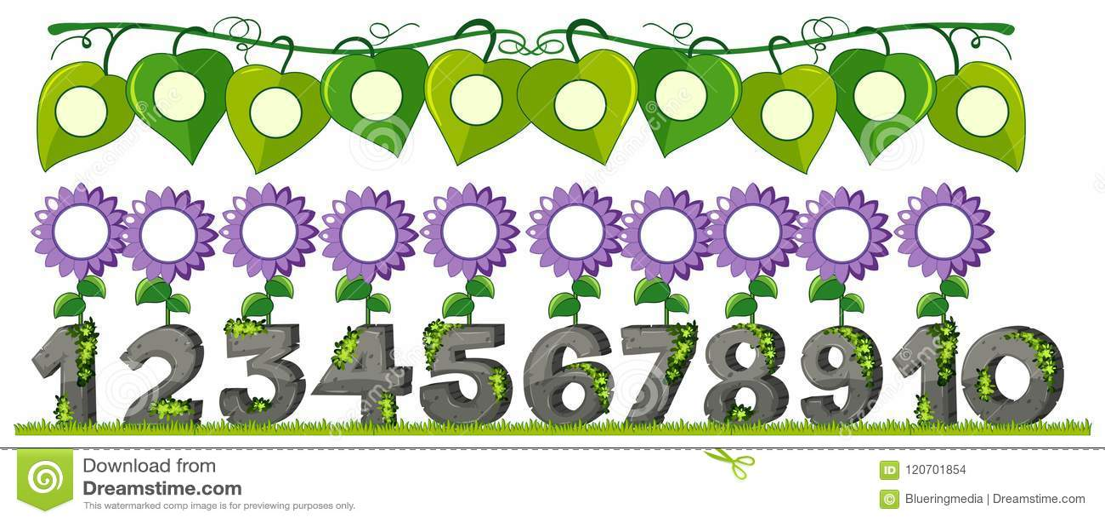 Un insieme del numero con il fiore