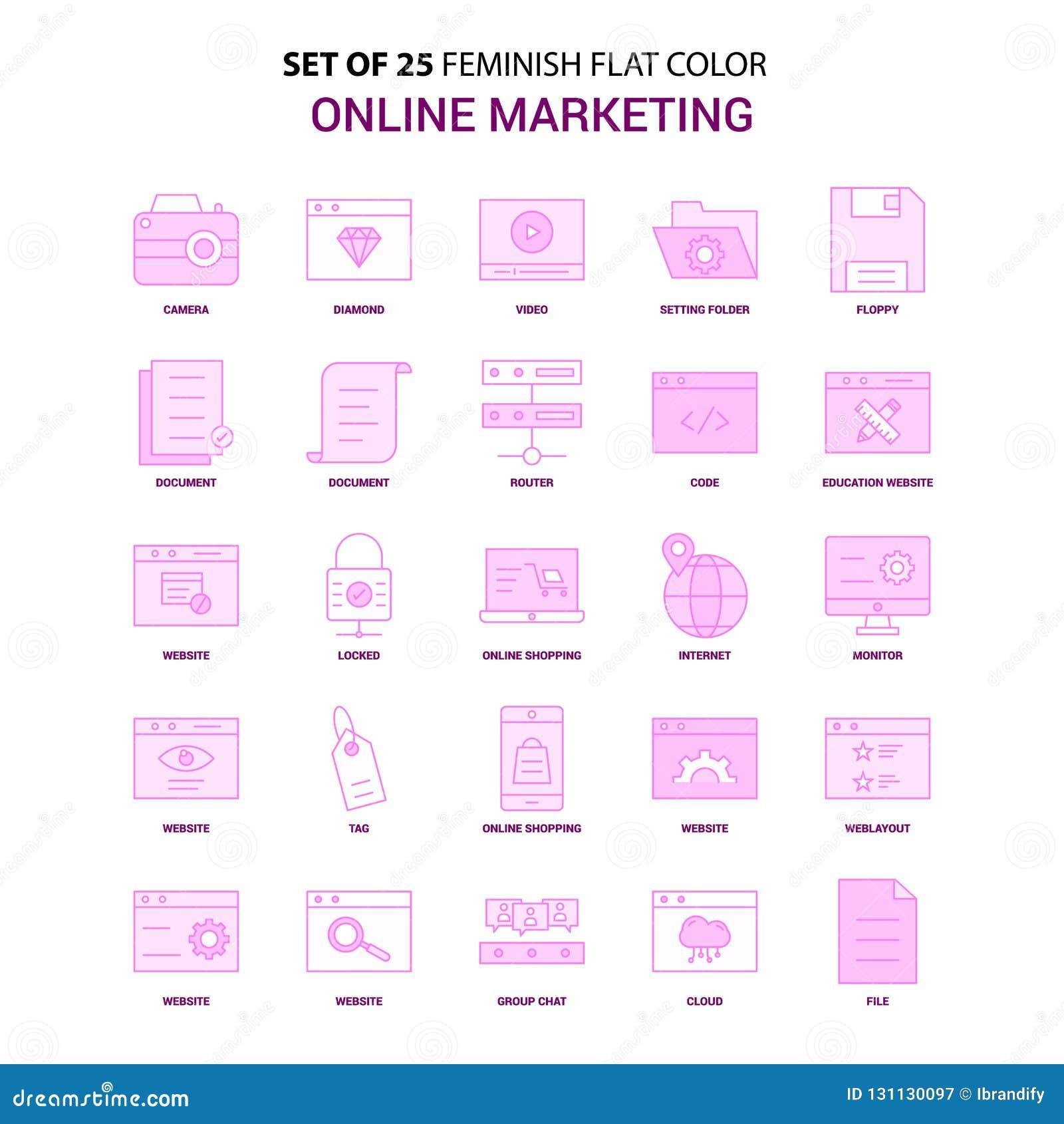 Un insieme dell insieme rosa commercializzante online dell icona di colore piano di 25 Feminish