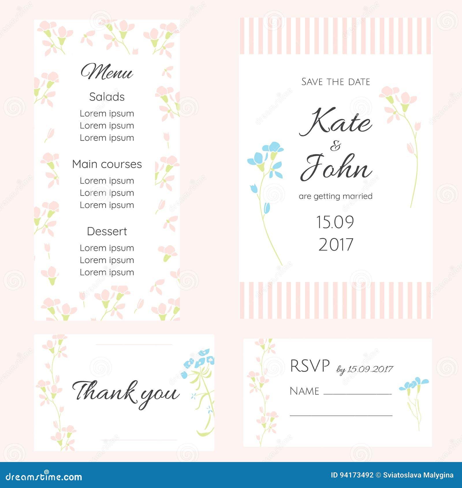 Un insieme delle carte delicate per le nozze