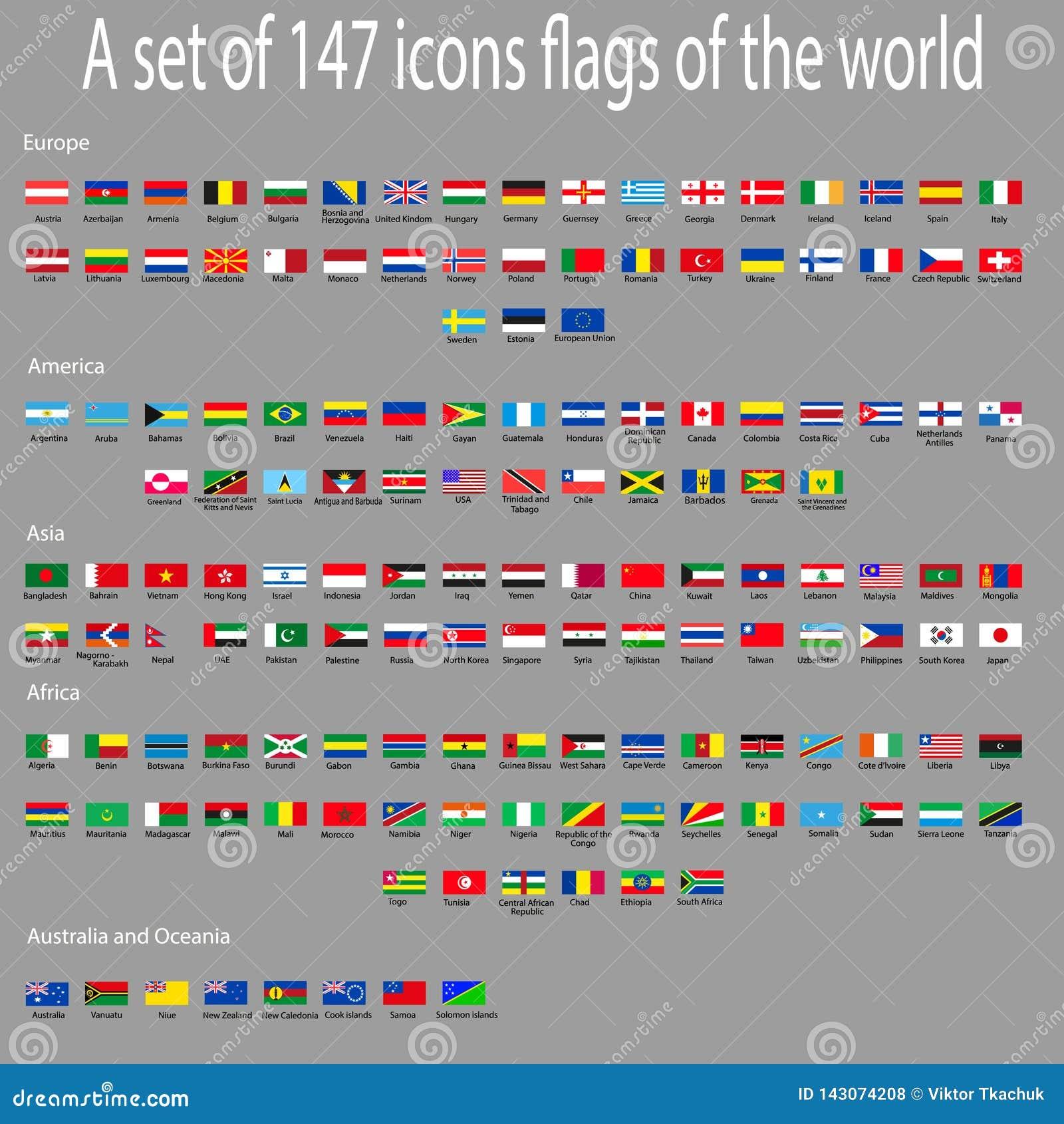 Un insieme delle icone con le bandiere dei paesi intorno al mondo