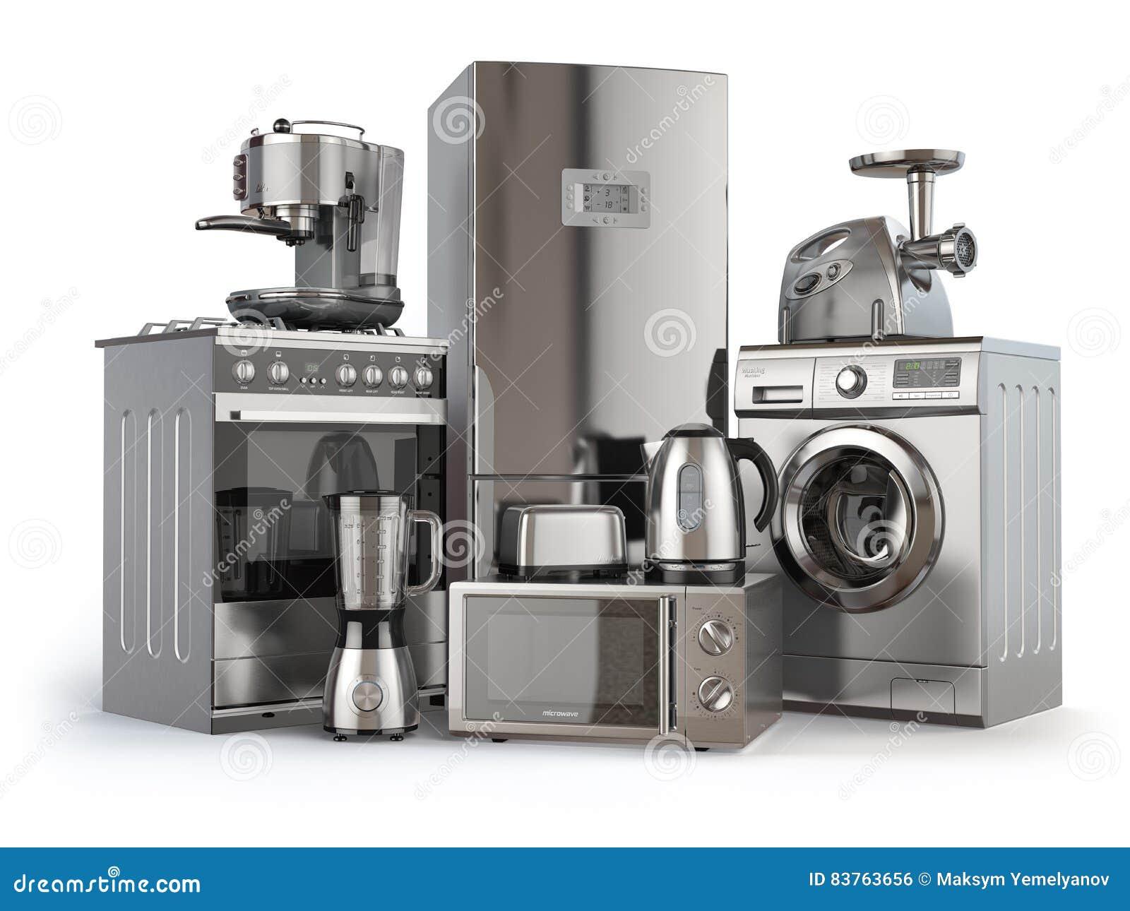 Un insieme delle icone degli apparecchi di cucina per il vostro disegno Fornello di gas, frigorifero, microonda e washi