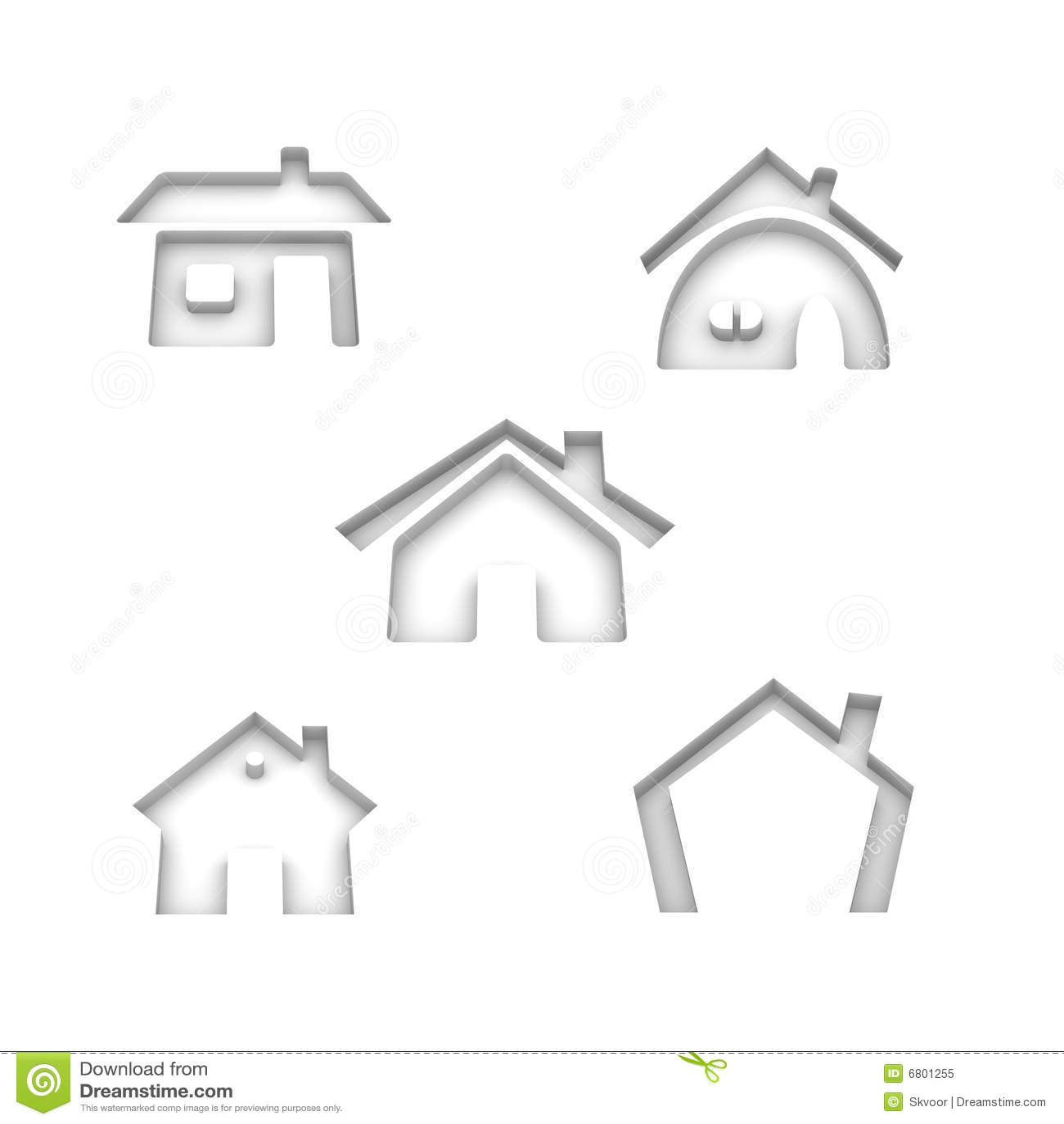 Un insieme di 5 icone della casa illustrazione di stock for Programma di disegno della casa libera