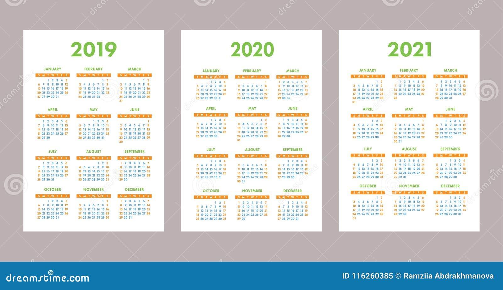 Immagini Calendario 2020 Gennaio.2019 2020 Un Insieme Di 2021 Calendario Colore Tasca