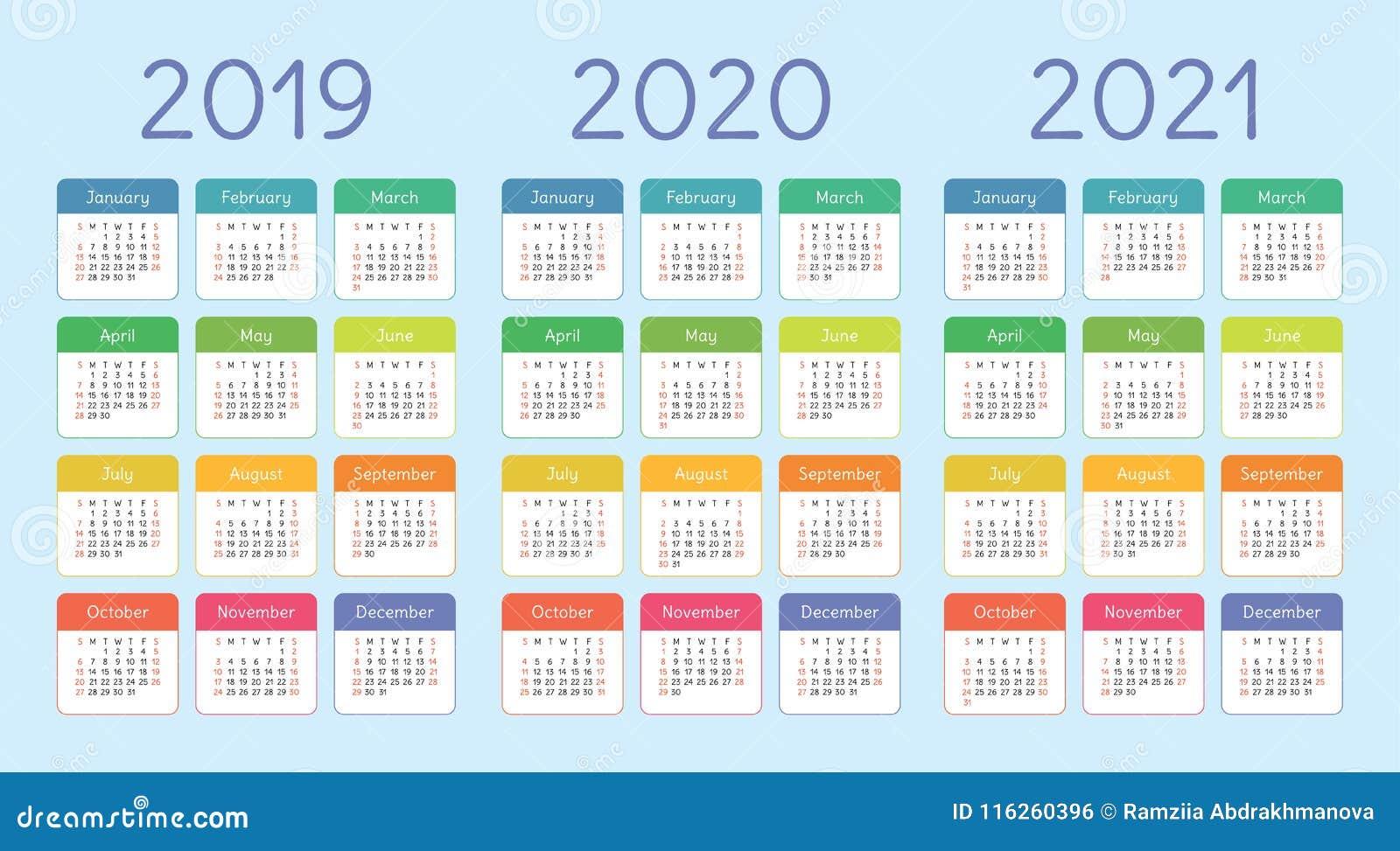 Settimane Calendario 2020.2019 2020 Un Insieme Di 2021 Calendario Colore Tasca