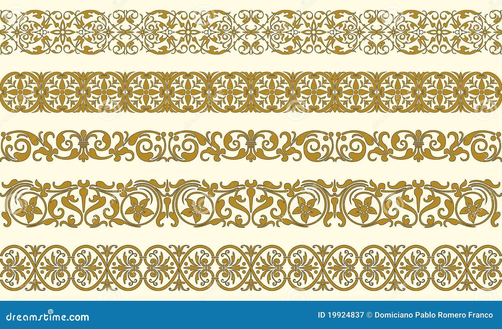 Un insieme di cinque bordi decorativi illustrazione for Bordi decorativi