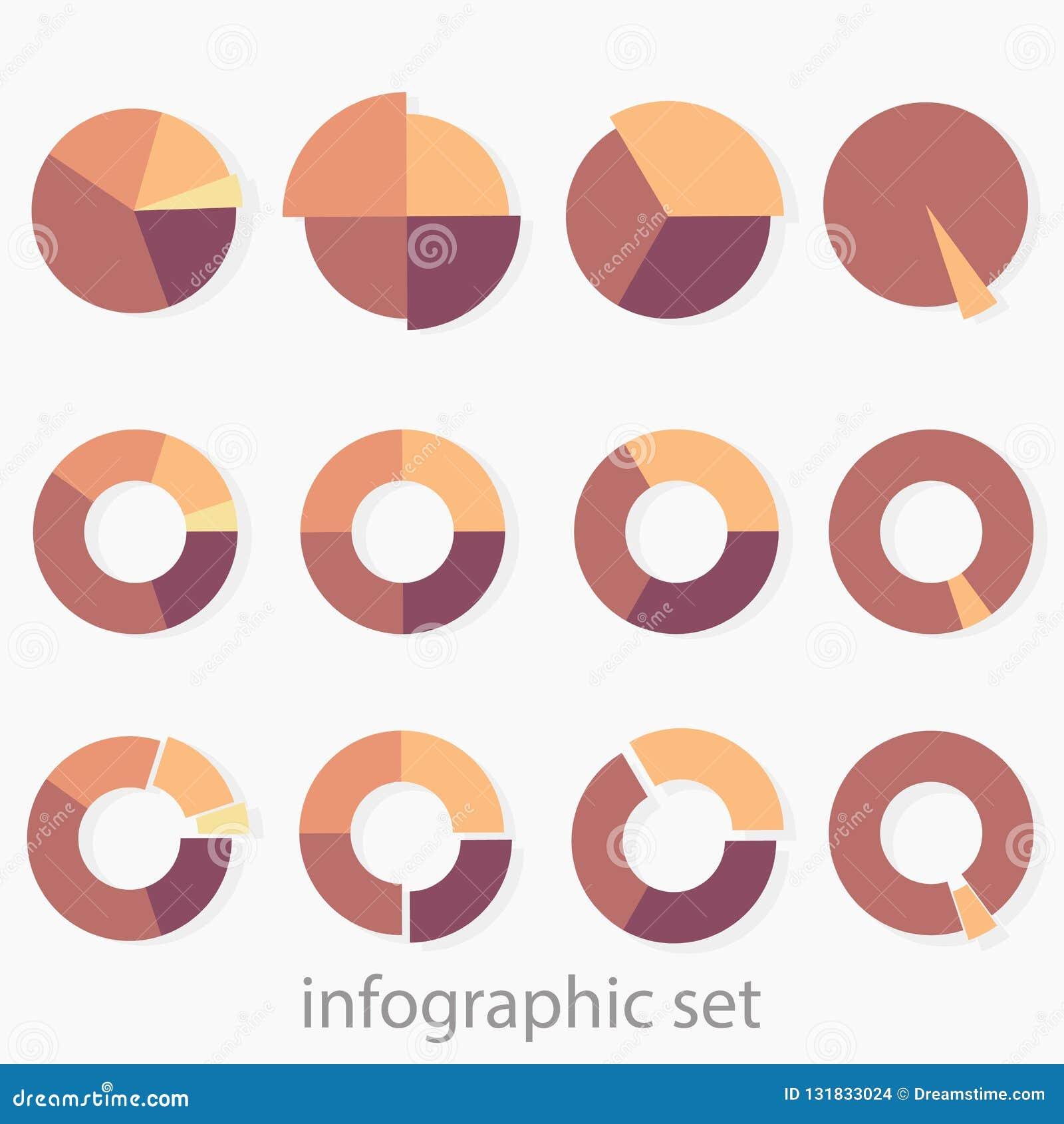 Un insieme di 12 di diagrammi rotondi colorati multi Infographics