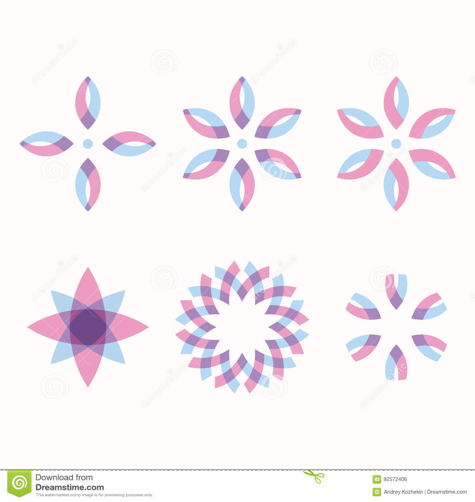 Un insieme di 6 forme geometriche simmetriche