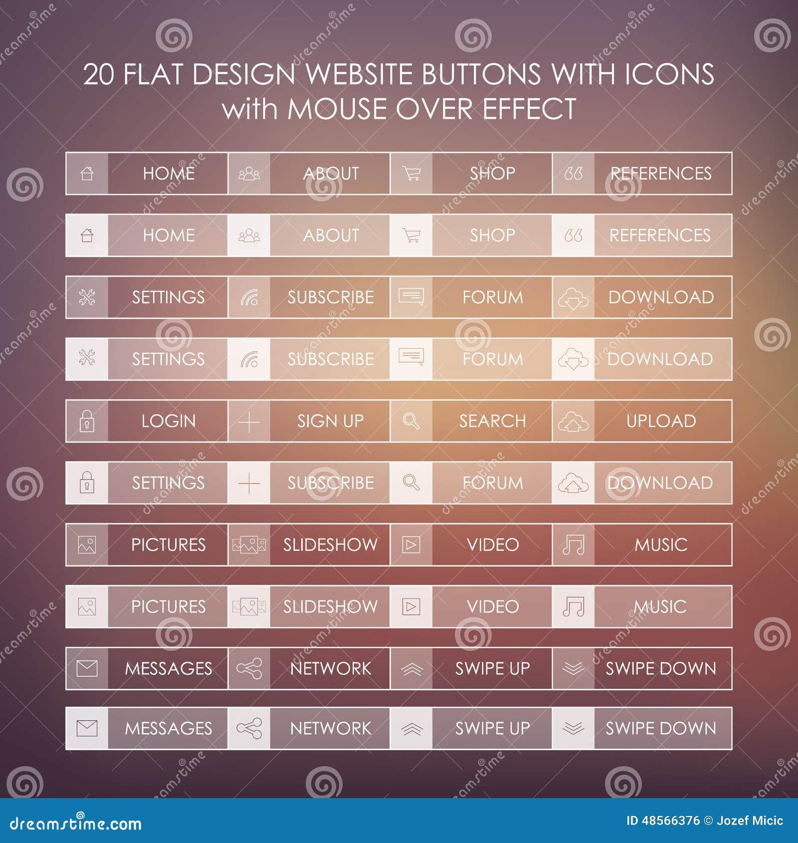Un insieme di 20 icone di base del sito web in piano for Sito web piano gratuito