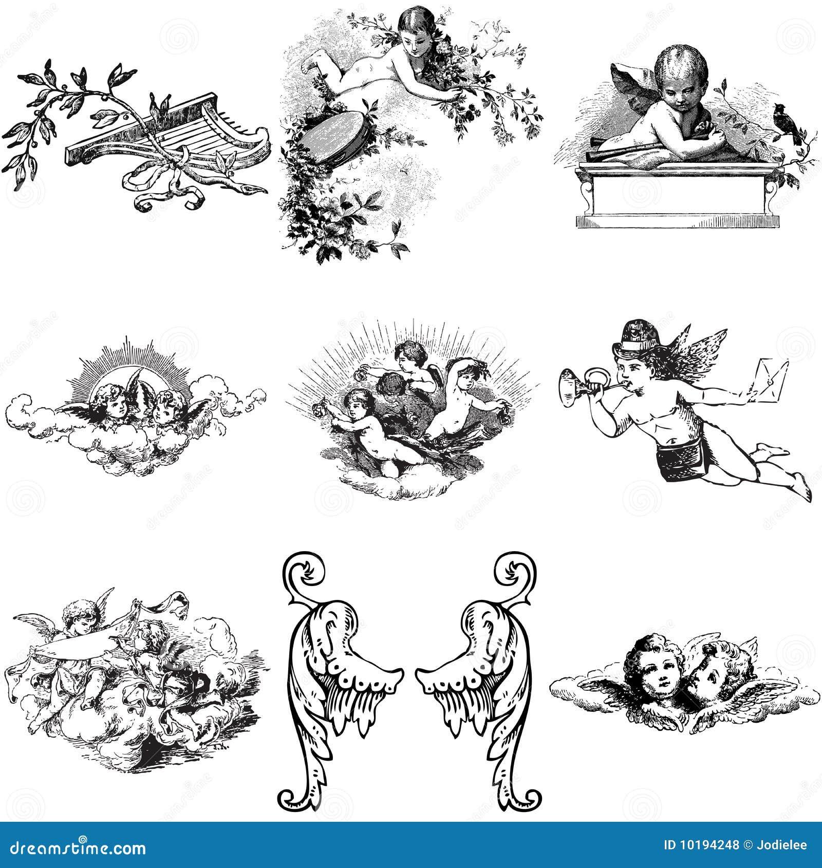 Un insieme di nove angeli e cherubs illustrazione di stock for Mobilia e un insieme di