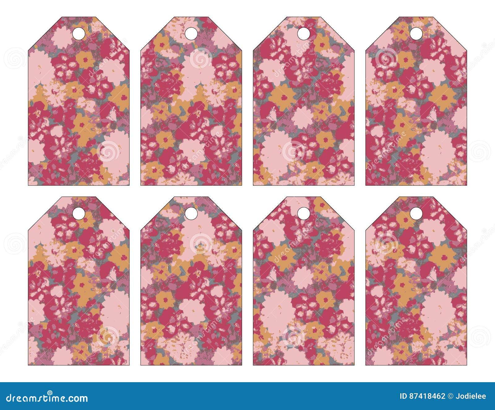 Un insieme di otto etichette floreali grungy eleganti misere