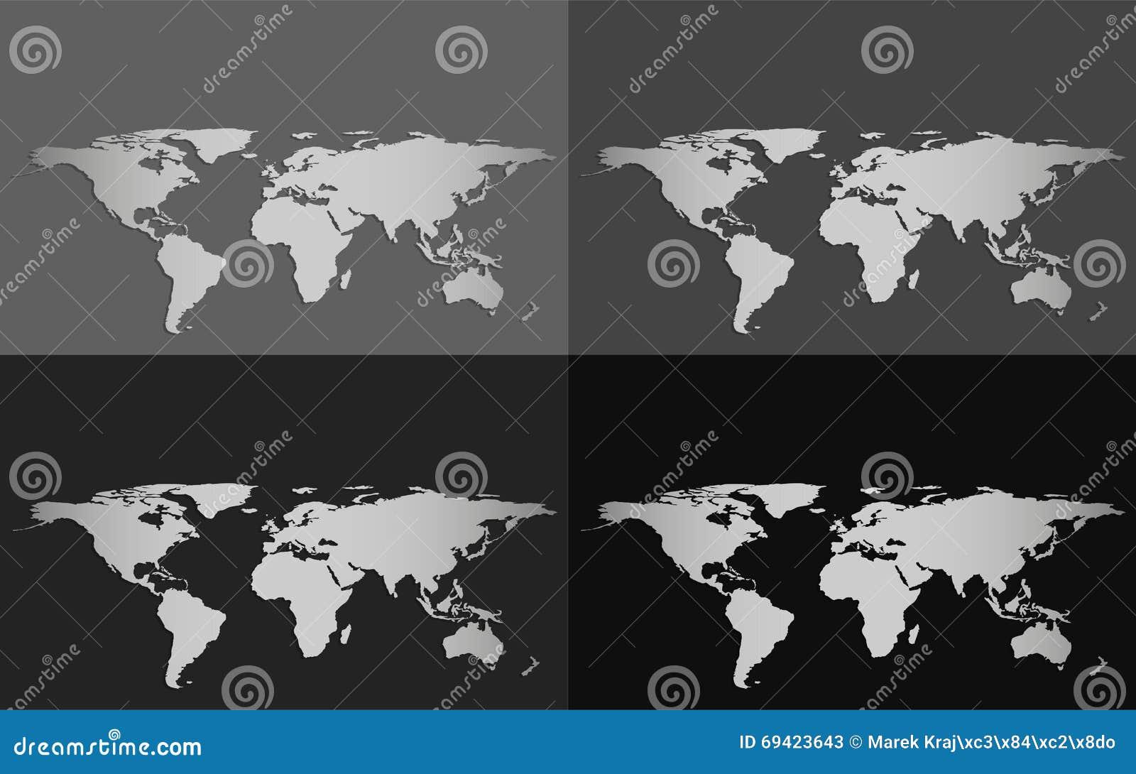 Un insieme di quattro mappe di mondo di vettore isolate su un fondo di gradazione di grigio