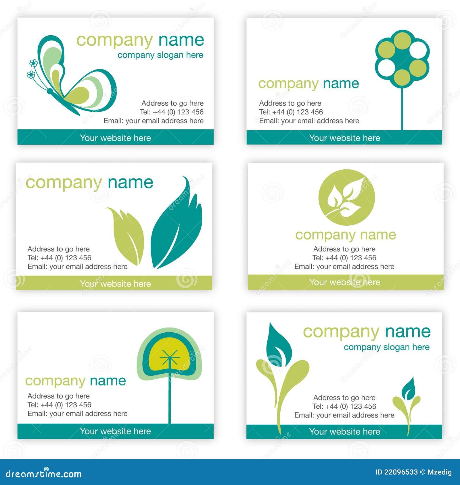 Un insieme di sei biglietti da visita della natura e di giardinaggio