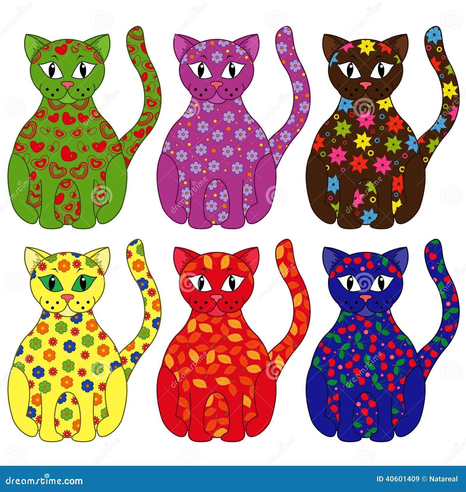 Un insieme di sei gatti stilizzati illustrazione - Dibujos de gatos pintados ...