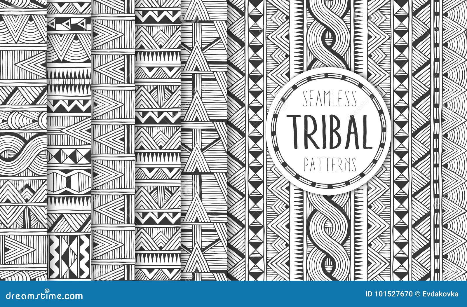 Un insieme di sei modelli senza cuciture etnici Ambiti di provenienza geometrici tribali Stampe moderne dell estratto