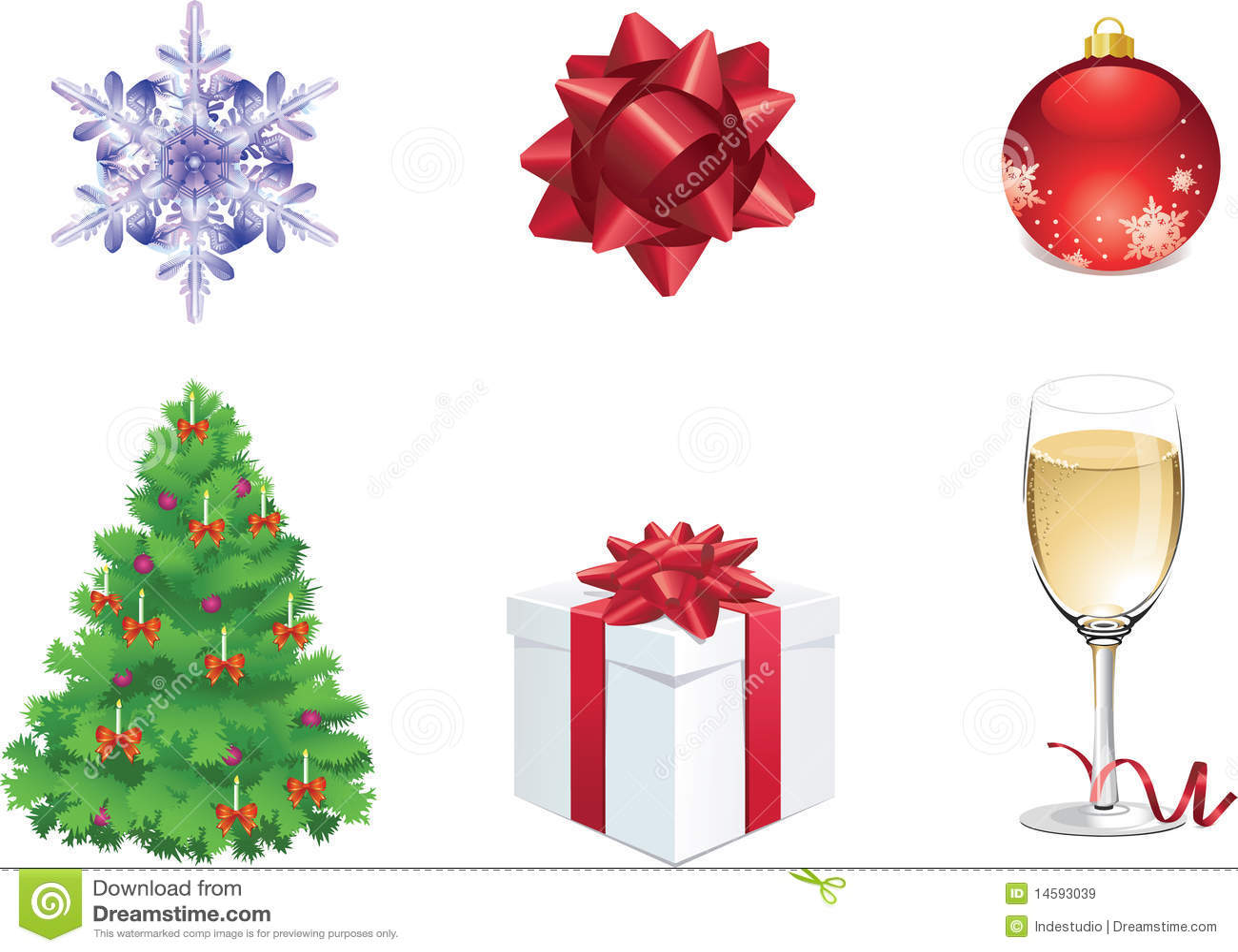 Un insieme di sei oggetti variopinti di natale per il web illustrazione vettoriale - Objetos de navidad ...