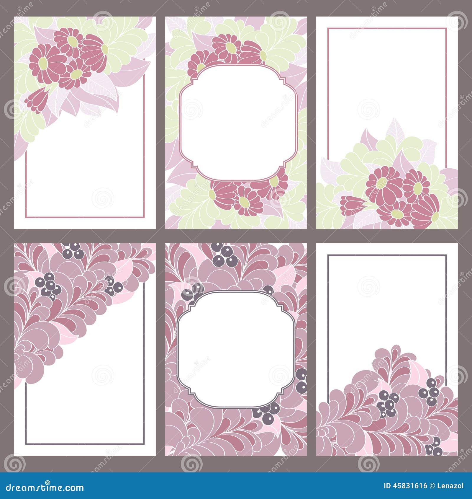Un insieme di sei telai dell 39 annata decorati con i fiori for Fiori disegnati