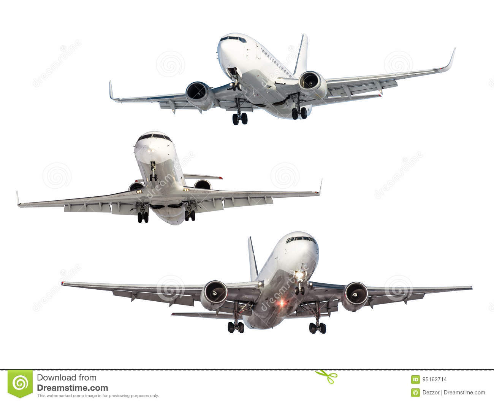 Un Insieme Di Tre Aerei Isolati Dai Precedenti Fotografia Stock