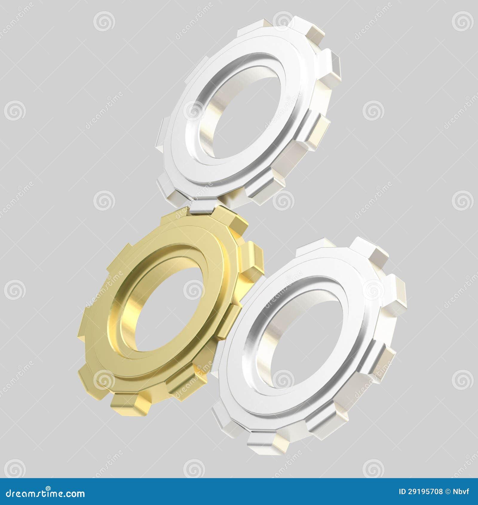 Un insieme di tre ruote dentate collegate isolate for Costruzione di un pollaio su ruote