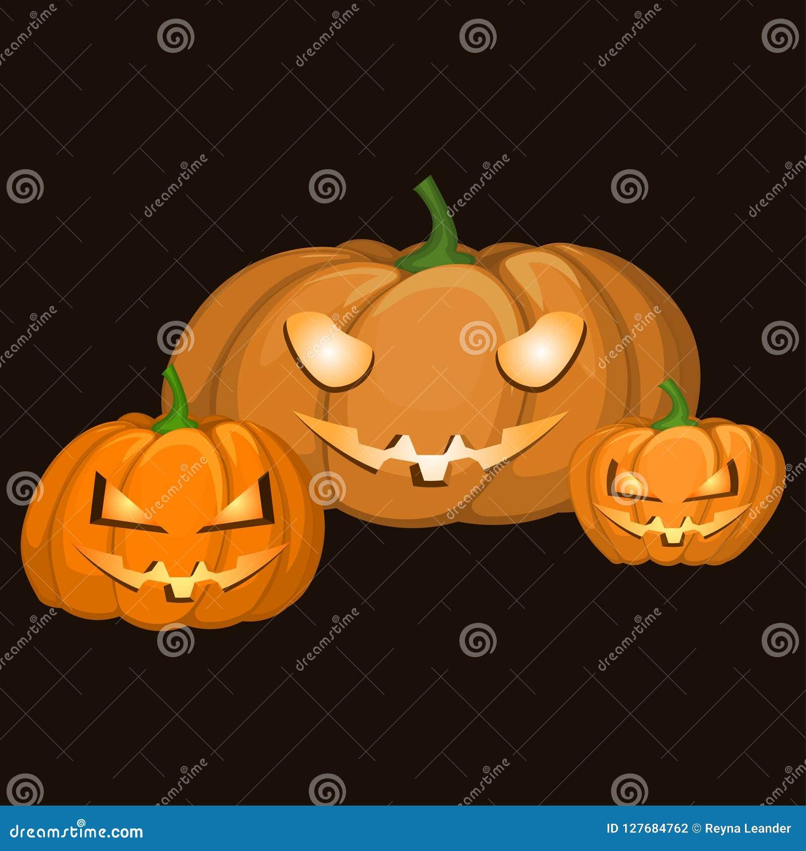 Un insieme di tre zucche delle forme e delle dimensioni differenti per la celebrazione di Halloween Emozioni diaboliche scolpite