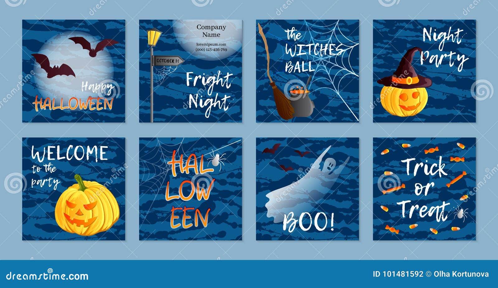 Un insieme di vettore di otto cartoline, inviti o insegne quadrati Un grande Web di ragno prima di una luna luminosa bizzarra Sim