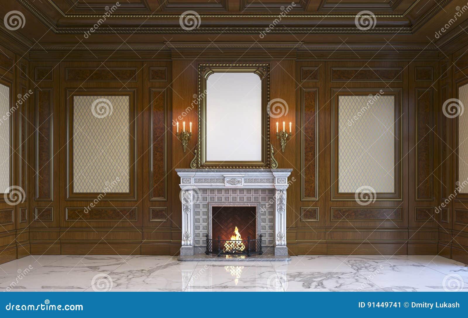 Un Interieur Classique Avec Le Panneautage Et La Cheminee En Bois
