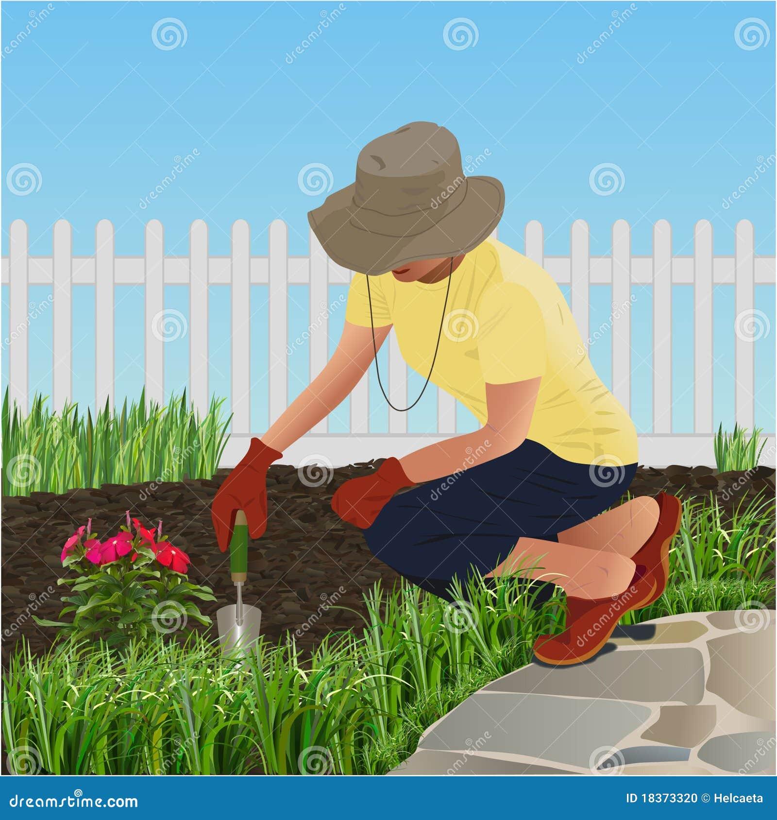 un jardinier illustration de vecteur illustration du barri re 18373320. Black Bedroom Furniture Sets. Home Design Ideas