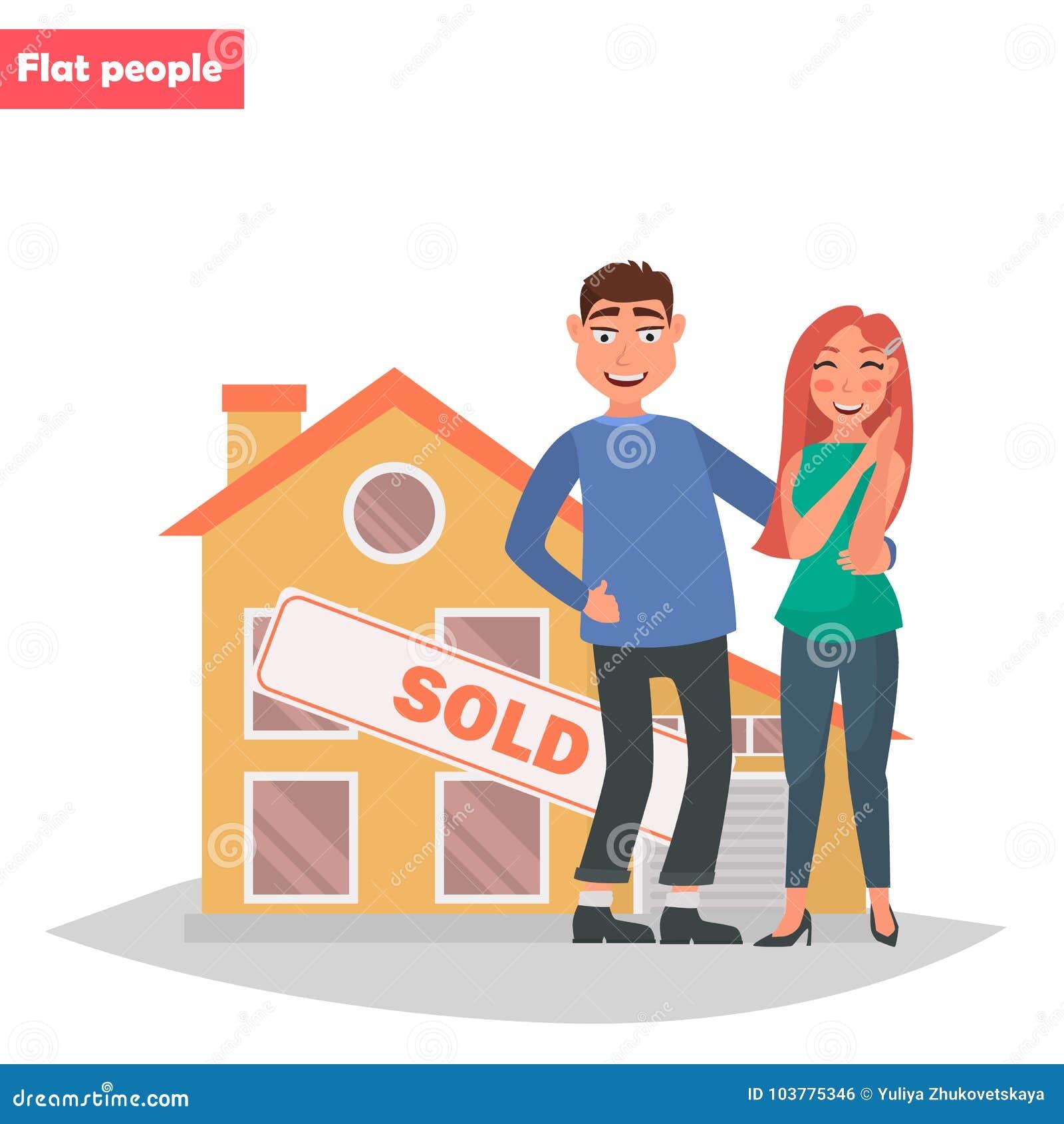 Un jeune couple a acheté une couleur de maison illustration plate