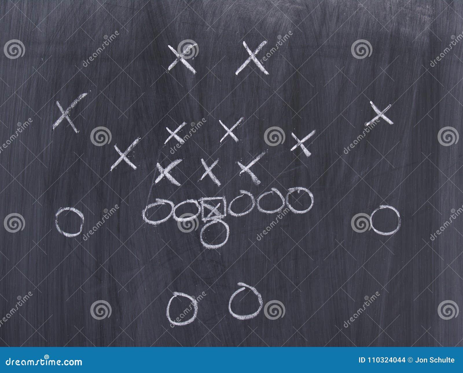 Un juego de fútbol en una pizarra