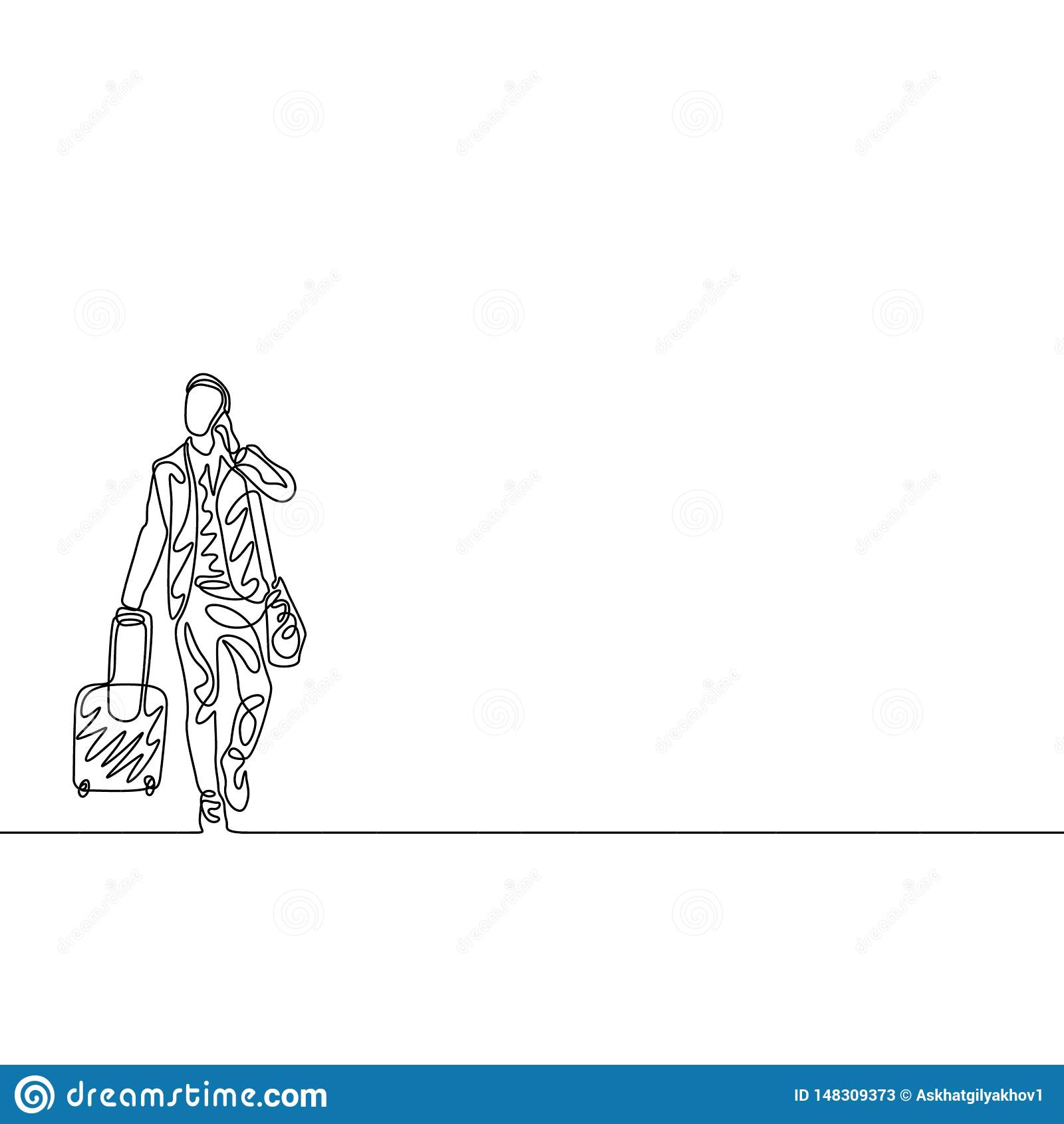 Un juez de línea continuo con el bolso que viaja y el teléfono concepto del recorrido