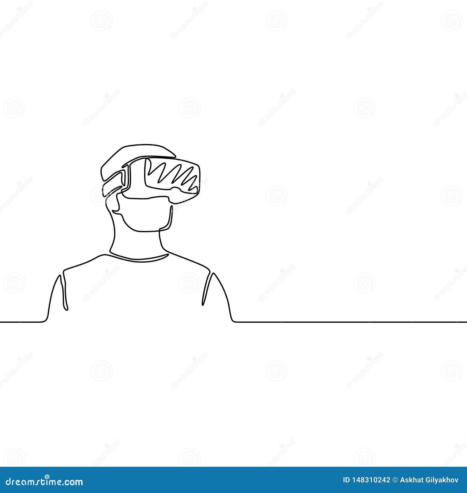 Un juez de línea continuo con los vidrios de VR, concepto futuro Ilustraci?n del vector