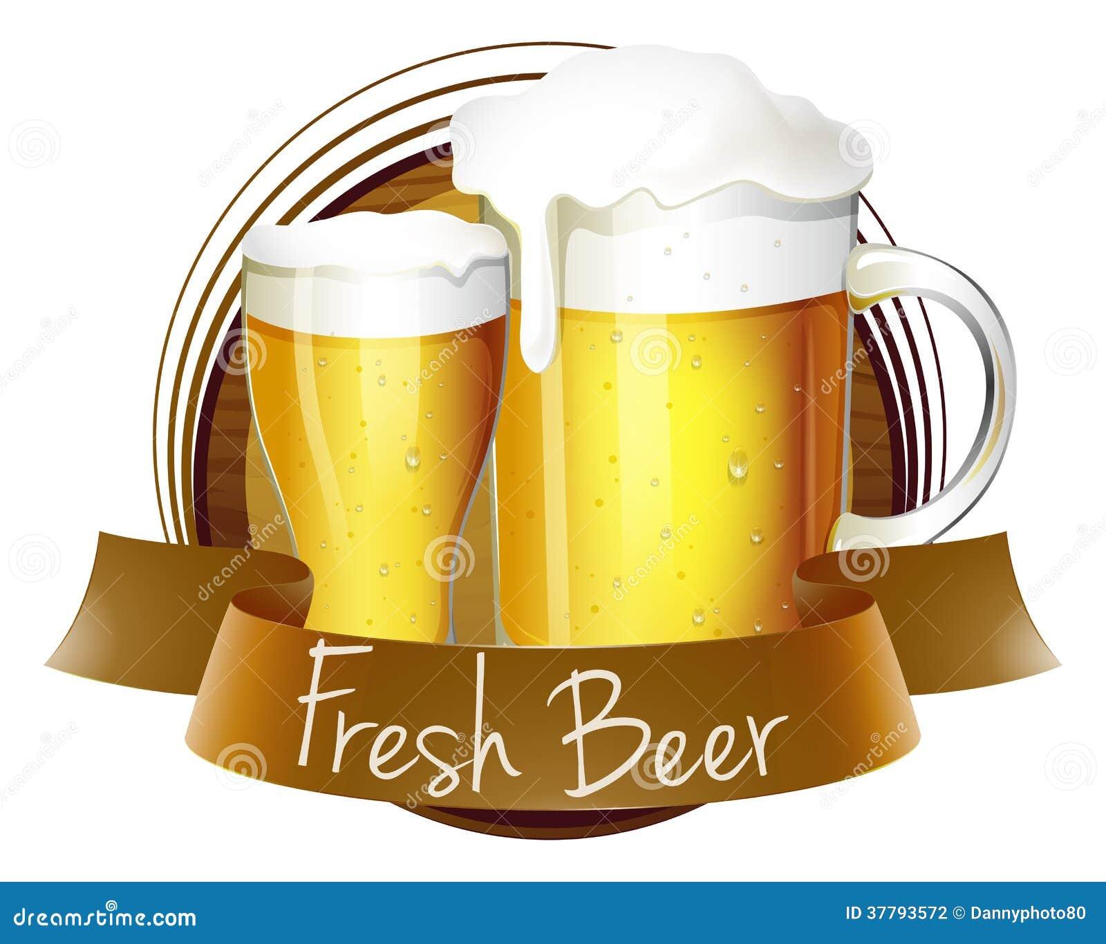 Un label frais de bi re avec un broc et un verre de bi re - Verre coloriage ...