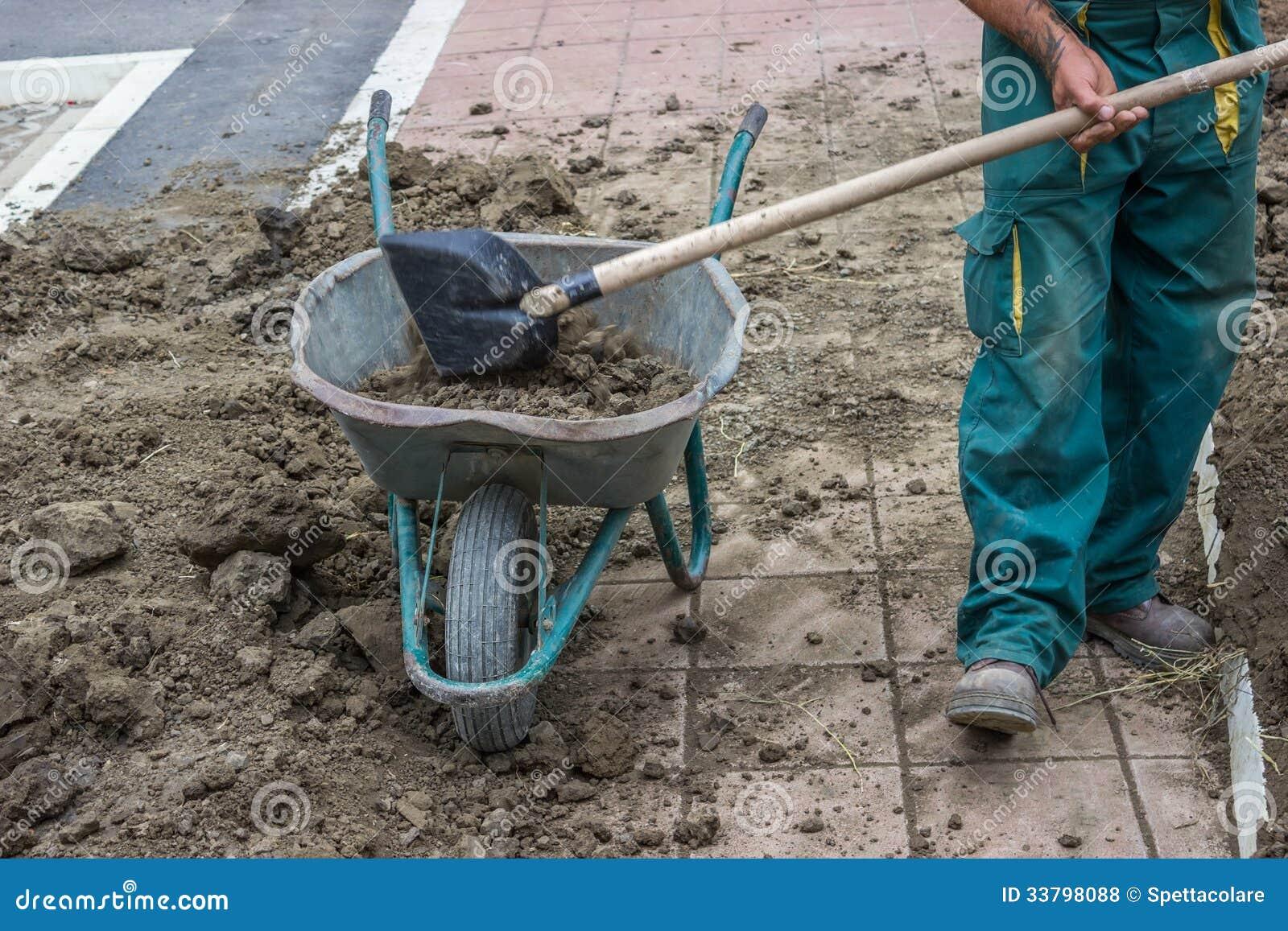 Un lavoratore spala la sporcizia in una carriola 3