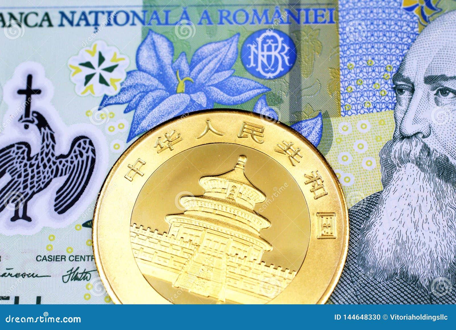 Un leu un roumain avec une une pièce d or chinoise d once