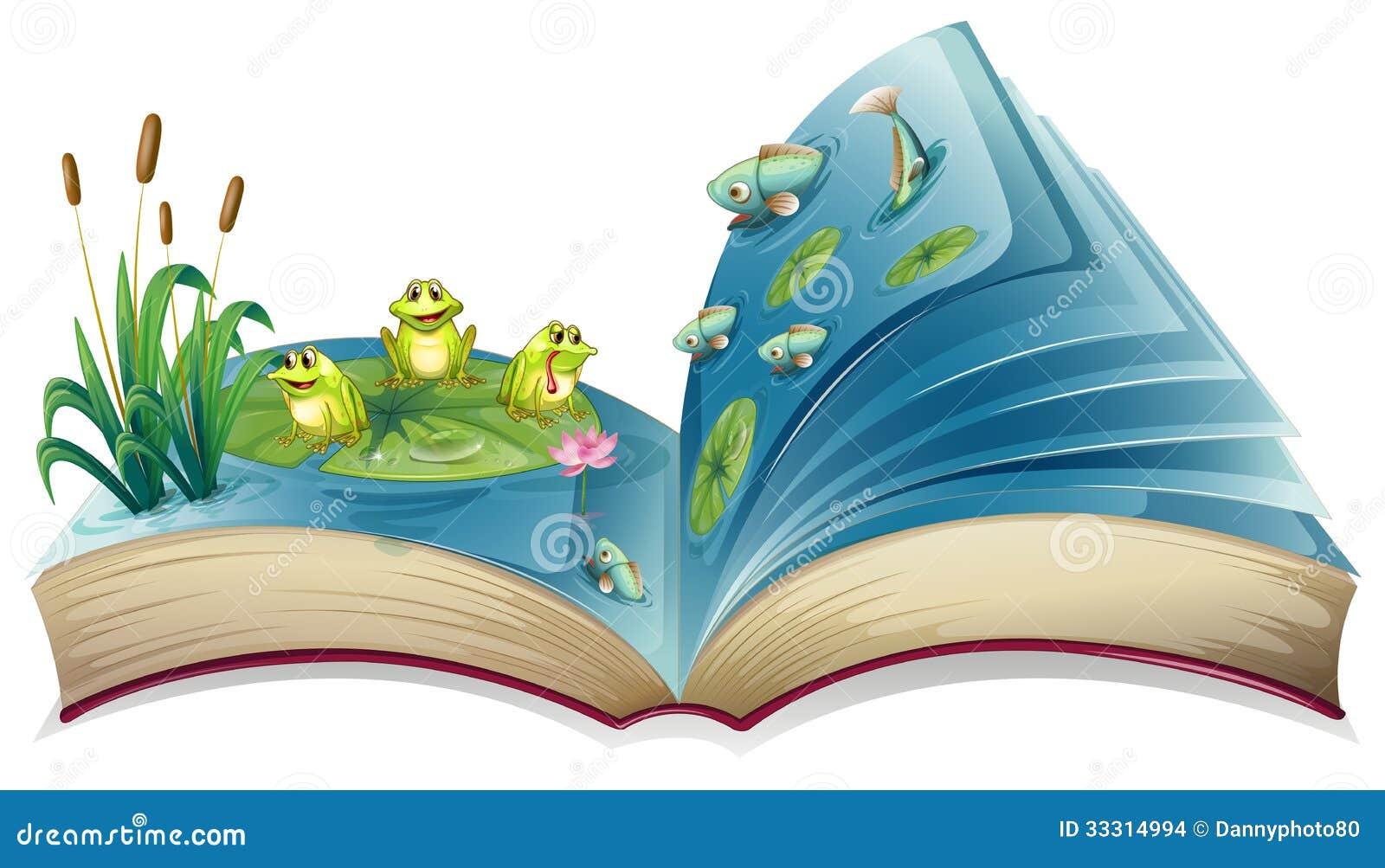 Un libro con un 39 immagine delle rane e dei pesci nello for Pesci da stagno