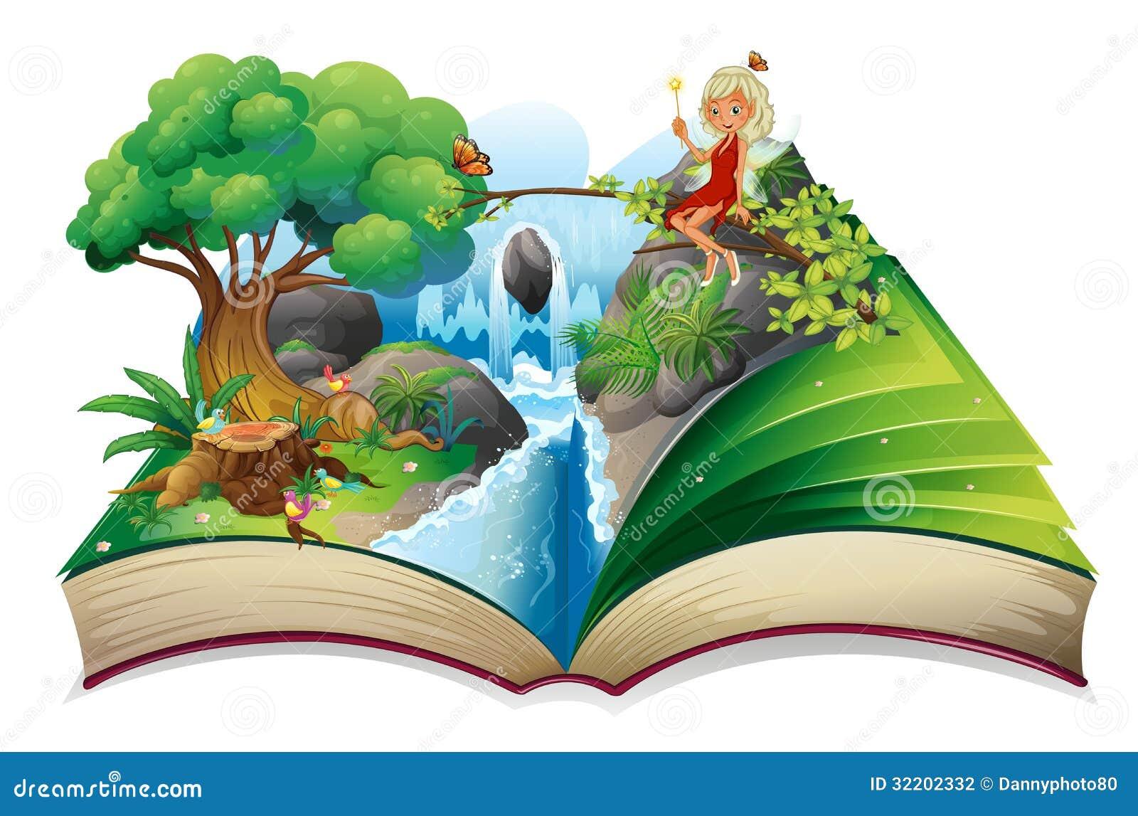Un libro di fiabe con un 39 immagine della natura e di un for Foto di un libro