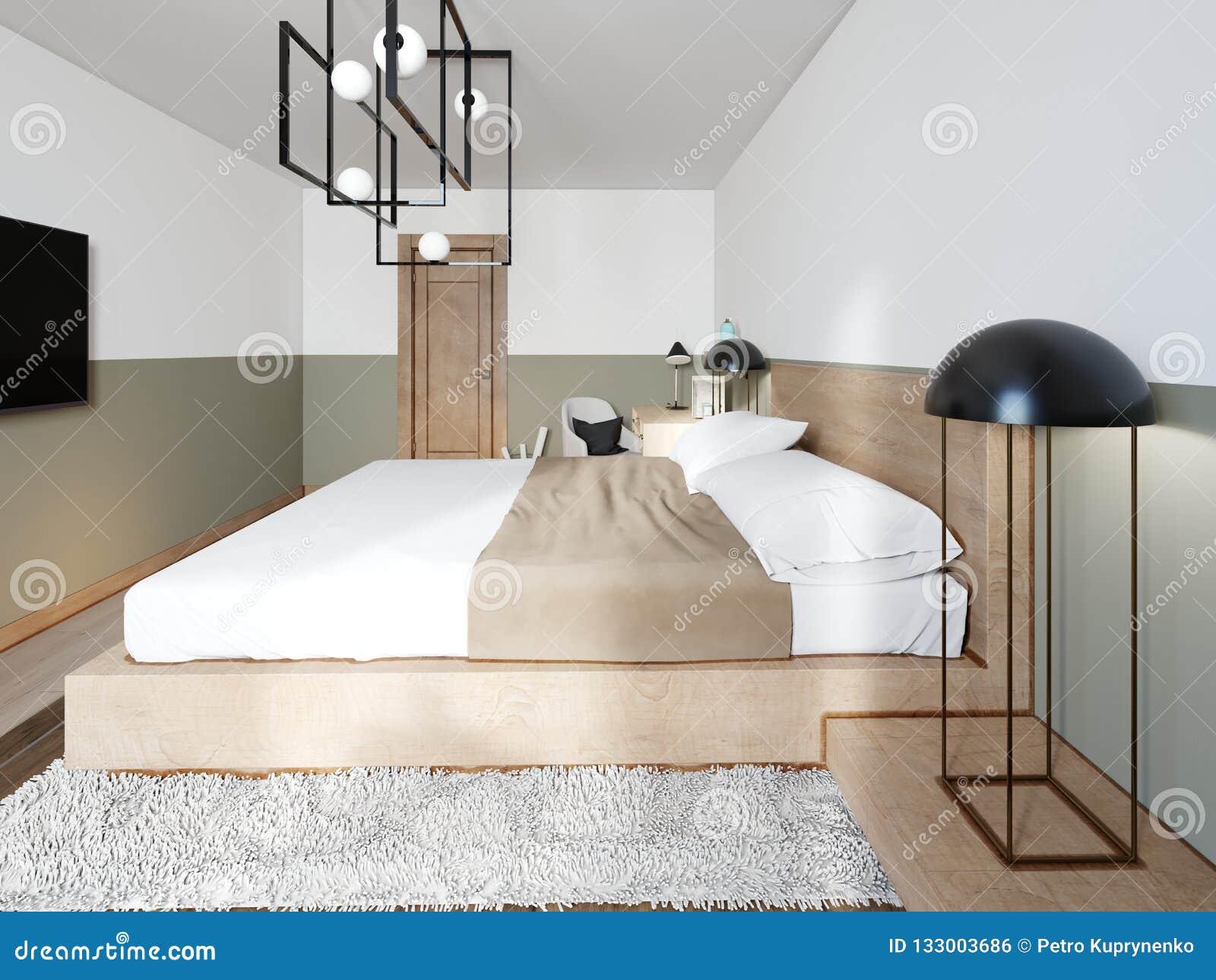 Un Lit En Bois Moderne Sur Une Passerelle En Bois à Deux étages Avec Lu0027 éclairage, Une Chambre à Coucher Dans Un Style De Grenier Rendu 3d