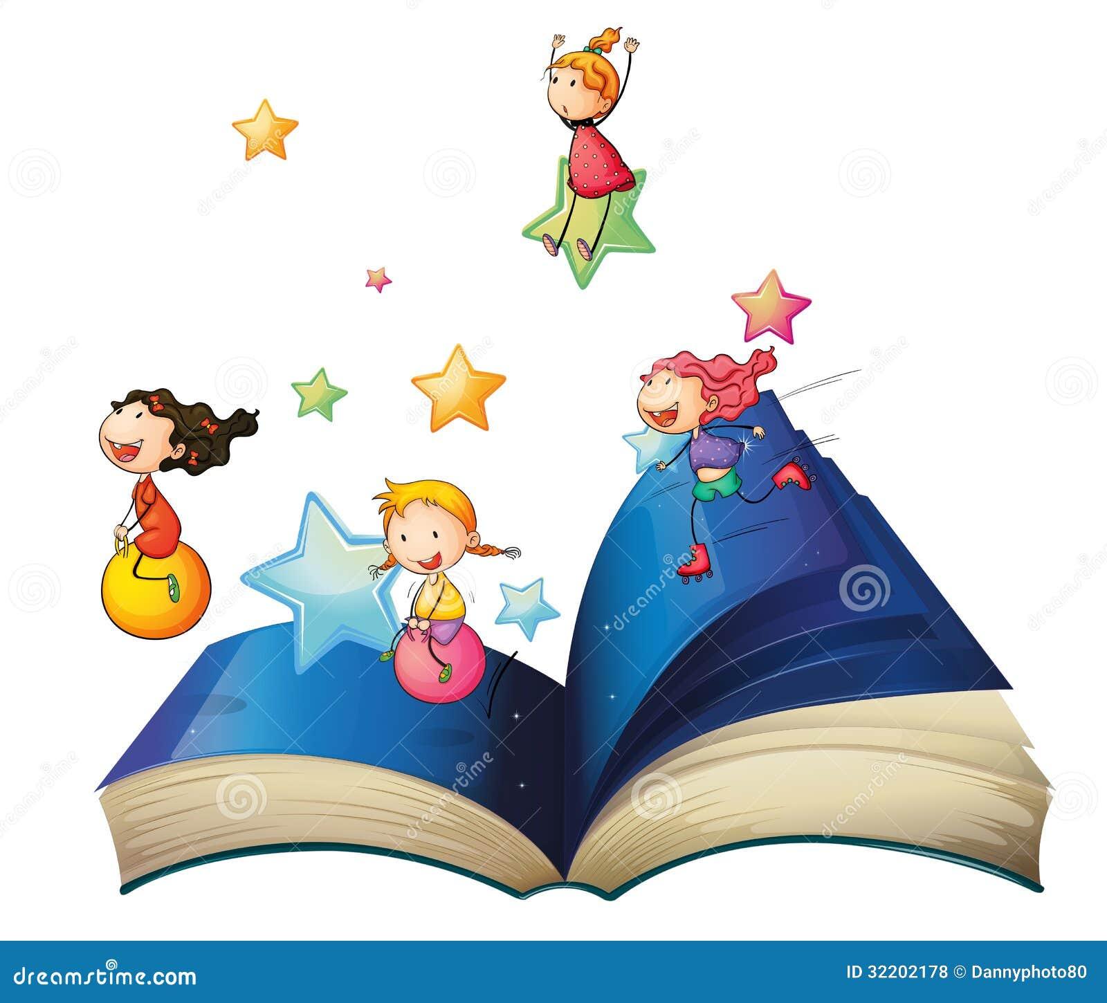 un livre avec jouer d 39 enfants illustration de vecteur illustration du feuilles gosses 32202178. Black Bedroom Furniture Sets. Home Design Ideas