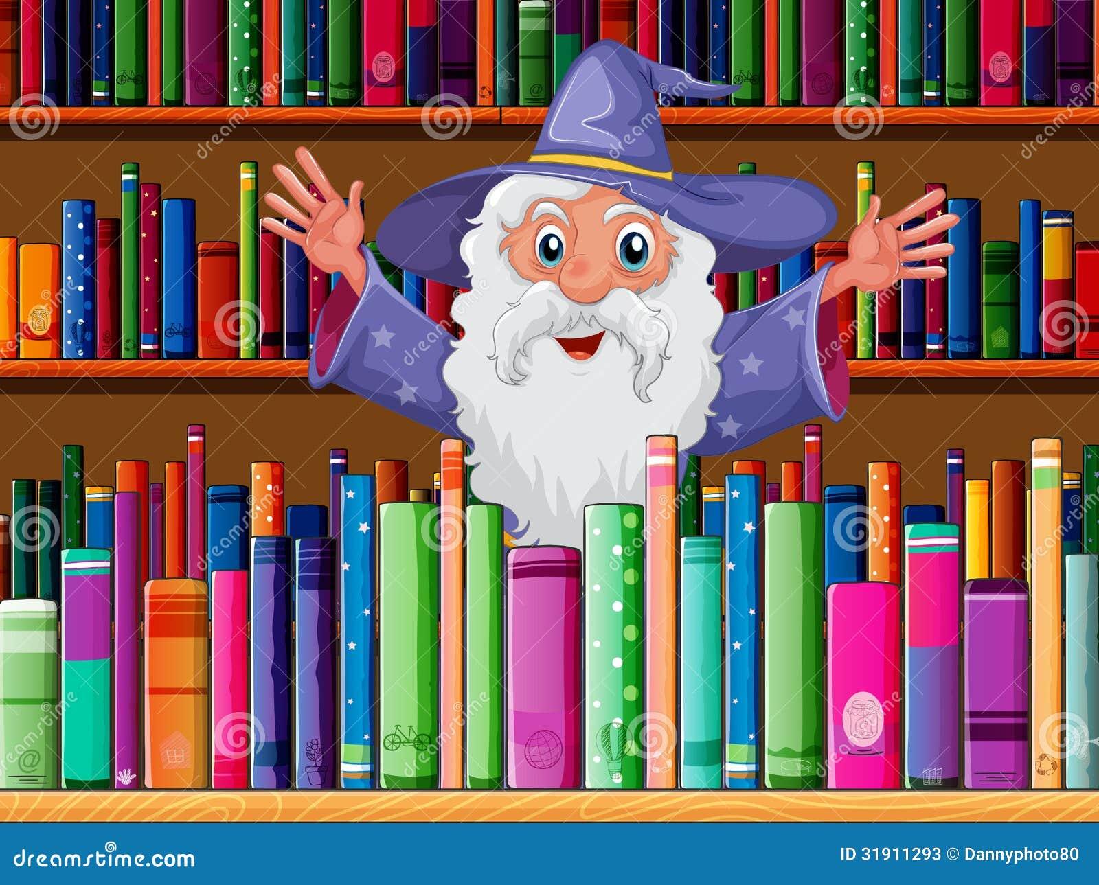 Un magicien à l intérieur de la bibliothèque