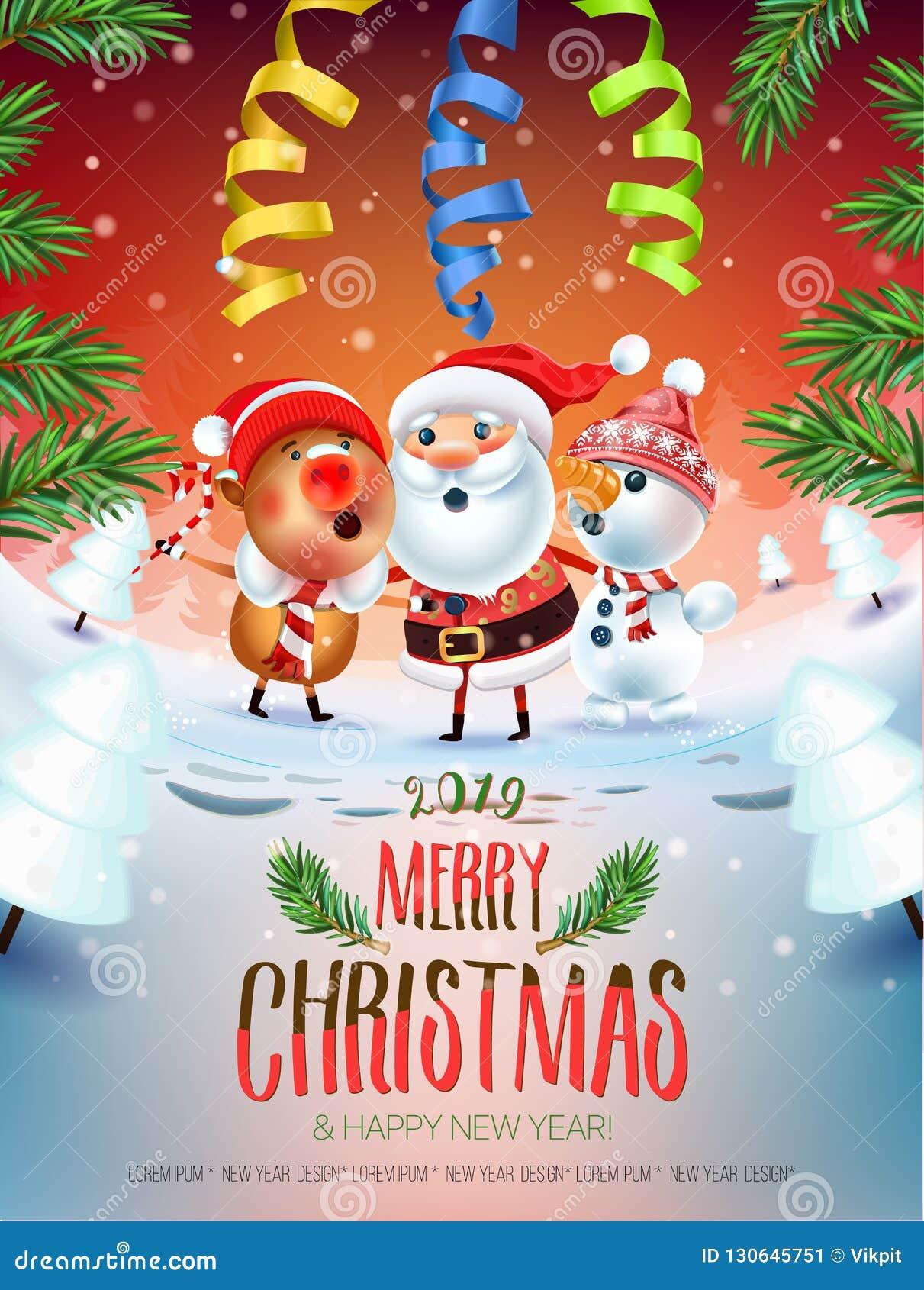 Canzone Di Natale Buon Natale.Un Manifesto Del Nuovo Anno Di 2019 Buon Natale Santa