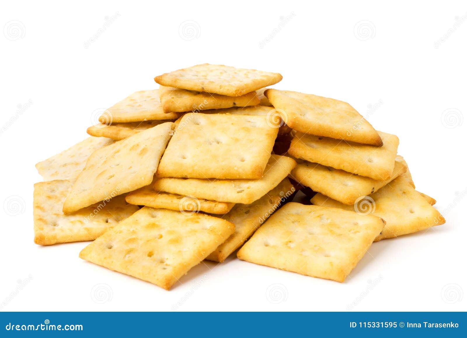 Un manojo de galletas en un blanco aisladas