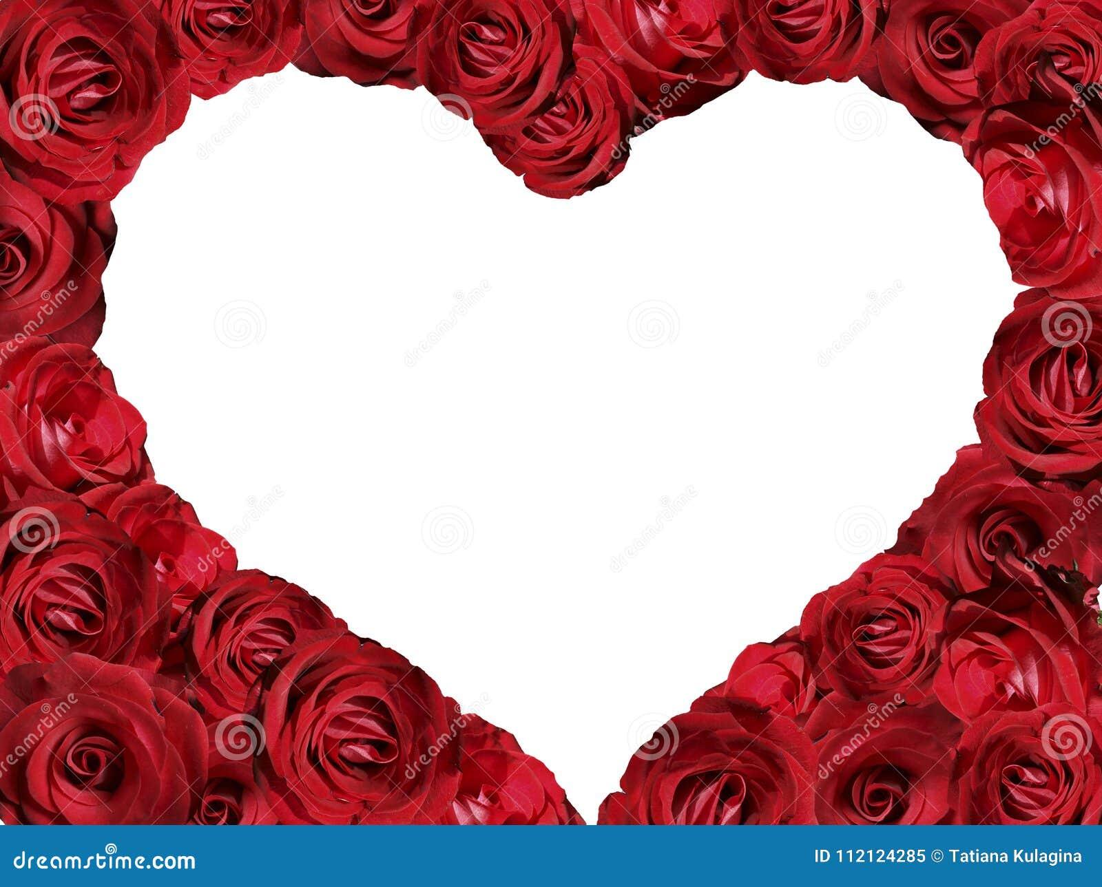 Un Marco De Rosas Bajo La Forma De Corazón Imagen De Archivo