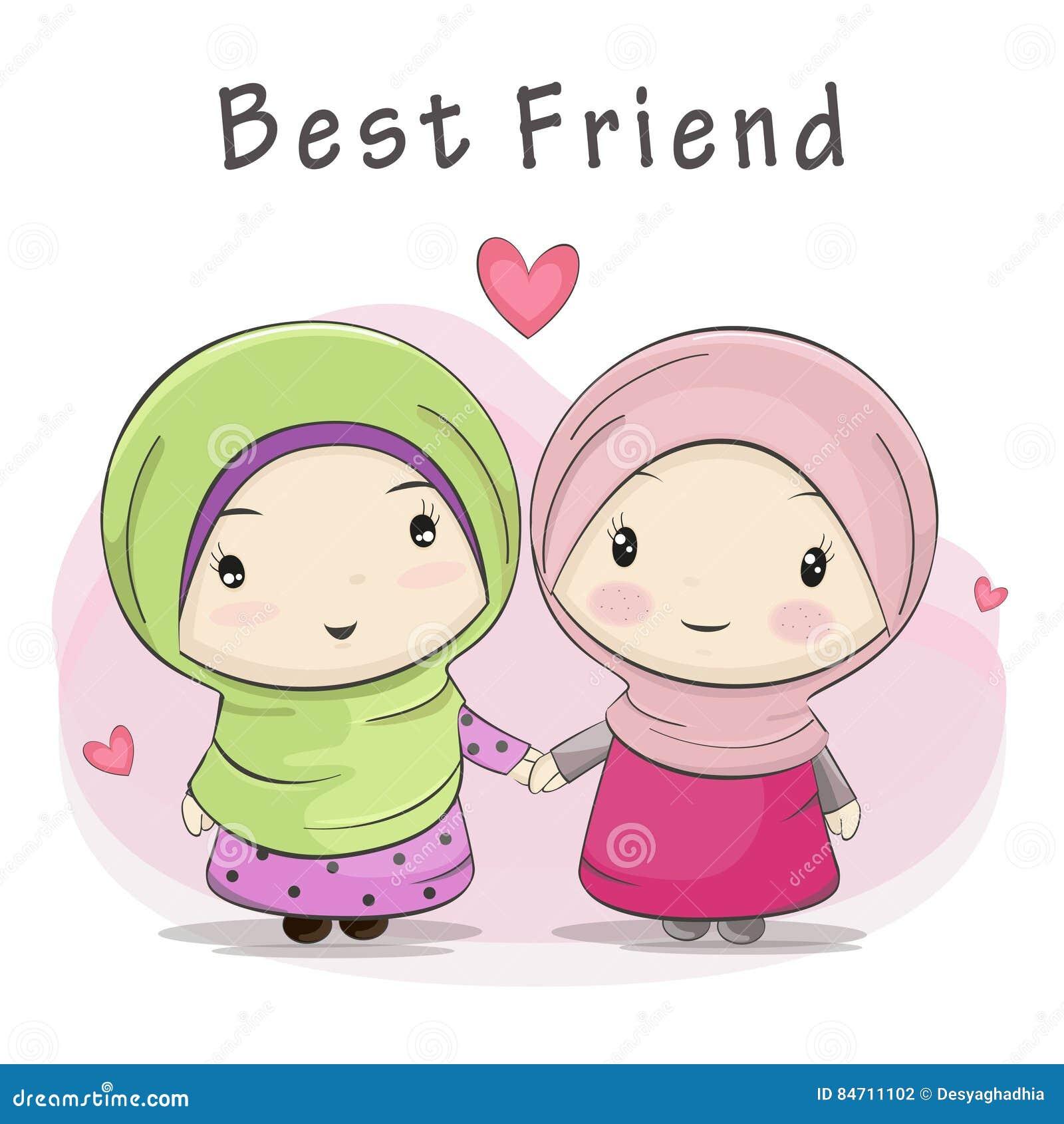 Un migliore amico di un fumetto musulmano sveglio di due ragazze