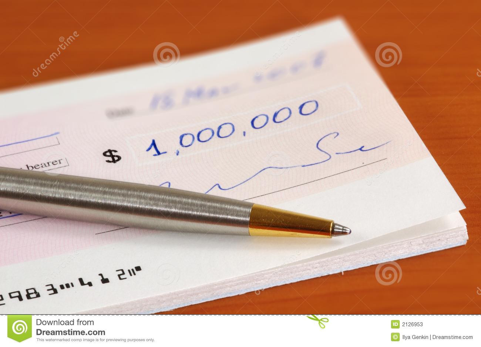 Un million de dollars de chèque