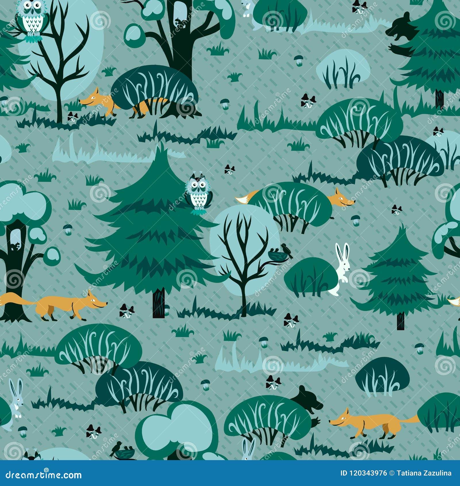 Un modèle gai pour des enfants dépeignant une forêt de pin avec les chanterelles rouges et les lapins mignons tissu sans couture