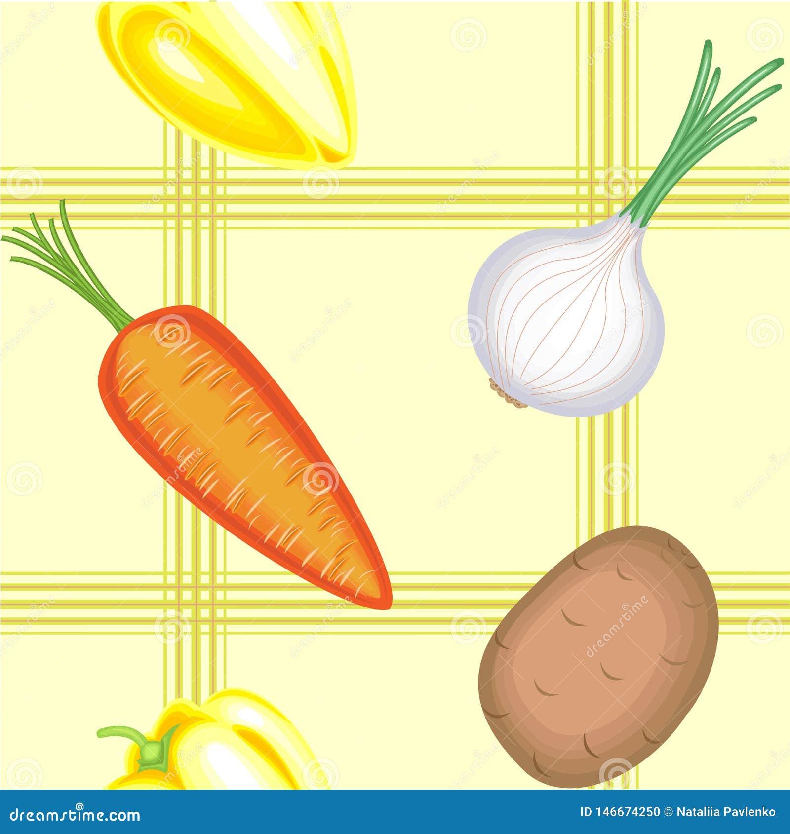 Un modello operato Belle verdure mature su un fondo leggero Adatto come carta da parati nella cucina, come fondo per