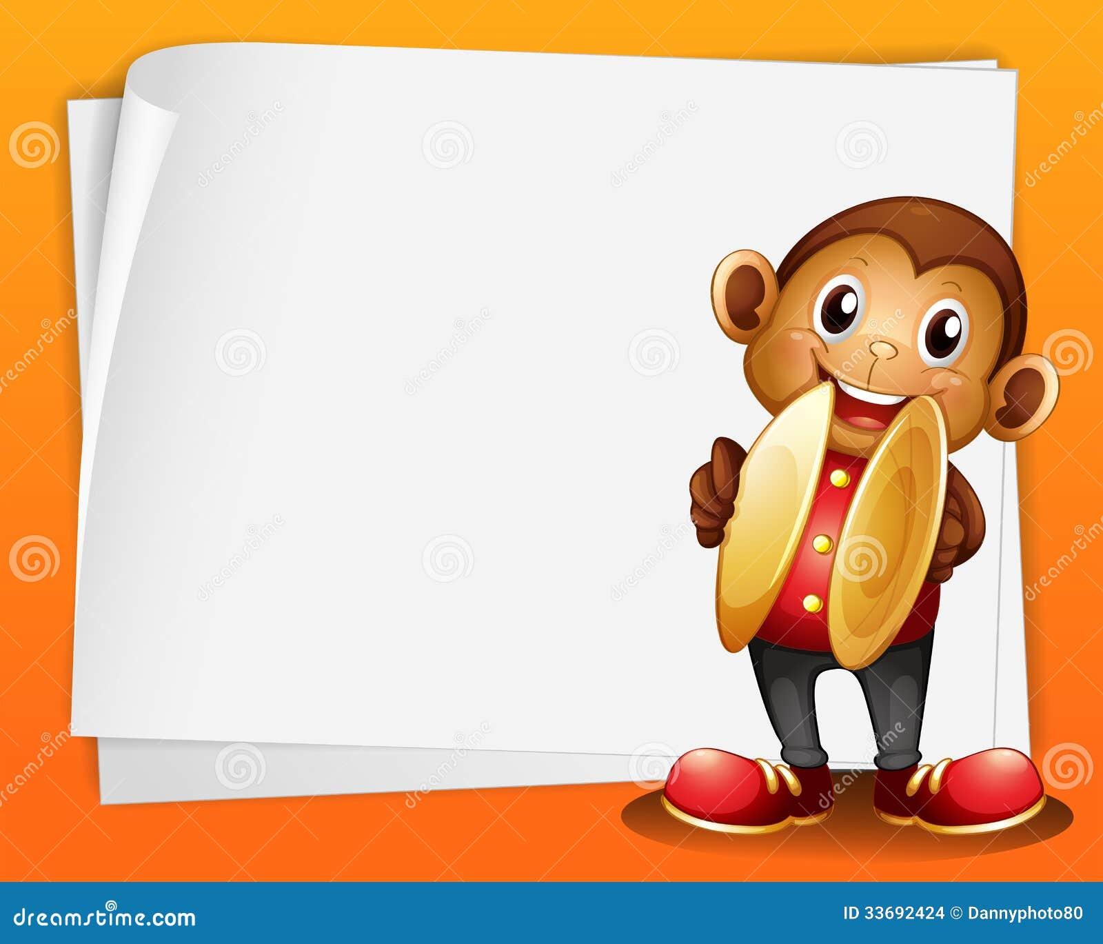 Un mono con los platillos y el espacio en blanco imagenes - Espacio en blanco ...